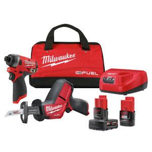 Milwaukee 2593-22 M12 FUEL Impact Driver/HACKZALL Recip Saw Combo Kit New