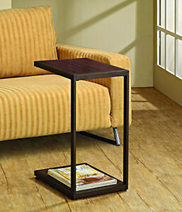 Details About Snack Table Tv Tray Dinner C Frame Dark Brown Slide Couch Sofa Home Living Room