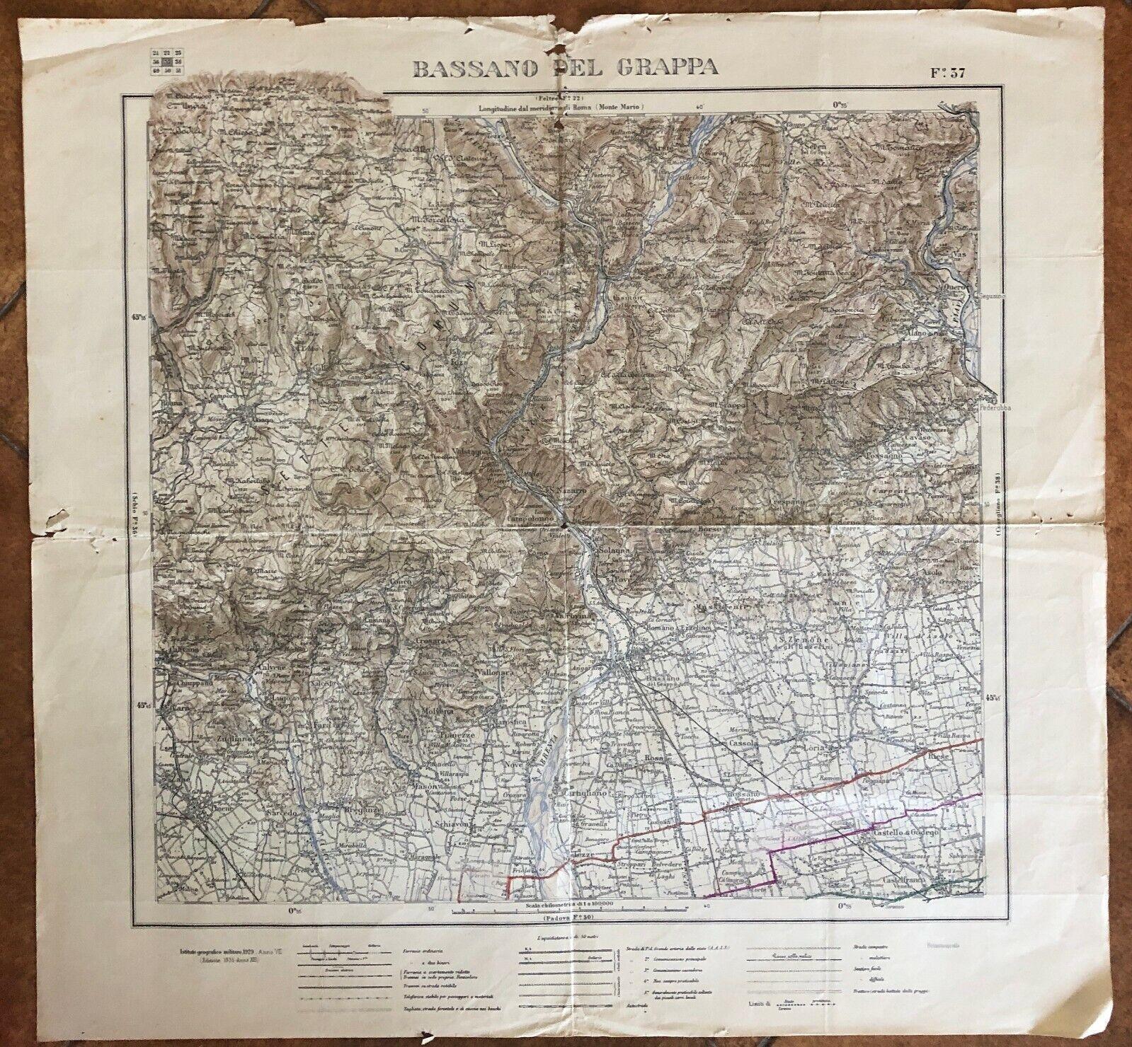 Cartina Geografica Bassano Del Grappa.Cartina Militare Bassano Del Grappa Ebay