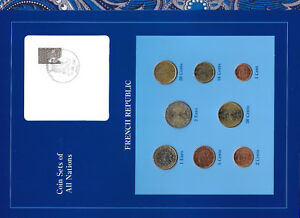 Coin-Sets-of-All-Nations-France-w-card-EURO-1999-2001-UNC-1-2-Euro-1999