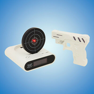 Laser Target Gun Shoot to Stop Game Alarm Clock LCD Screen Novelty Gift 2 Colors