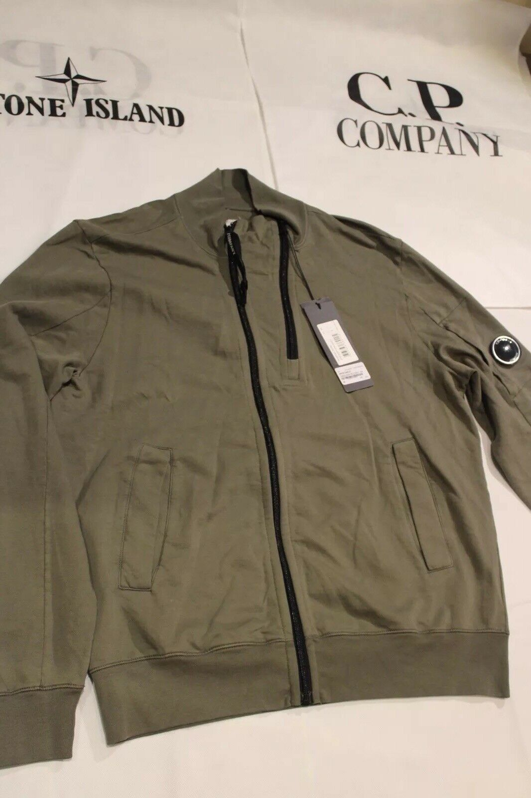 Cp Company Olive Open Sweat Shirt Aw18 L