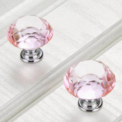 7 Couleur Armoire Tirette Commode Tiroir Porte Vis Poignée Verre Diamant Crystal