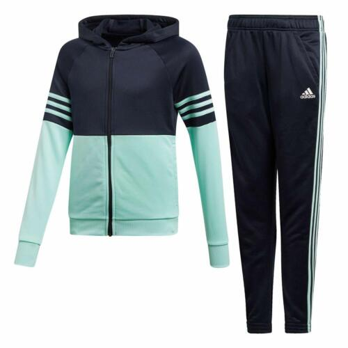7-8 /& 9-10 years Jogging suit adidas girls navy//mint zip up tracksuit Age 5-6