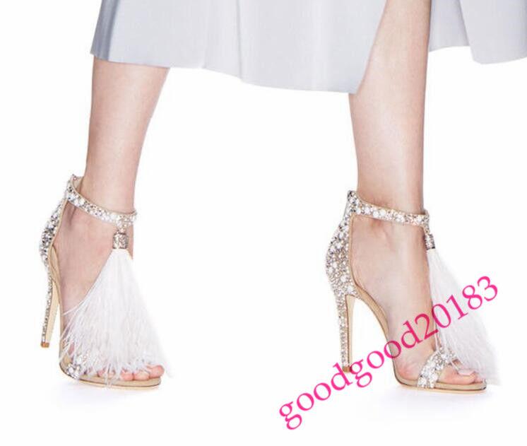 Mujer señoras Cristal Zapatos Zapato Taco Taco Taco Alto Bombas De Boda Con Borlas Sexy Caliente S  nuevo listado