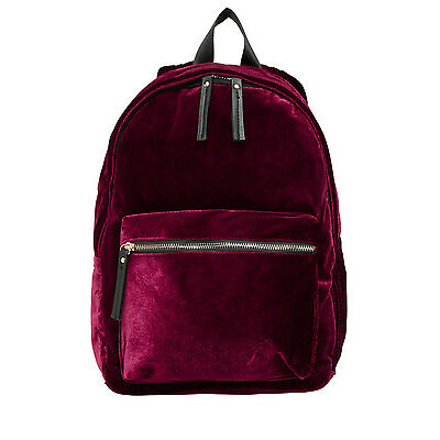 NEW Miss Shop Velvet Backpack Burgundy