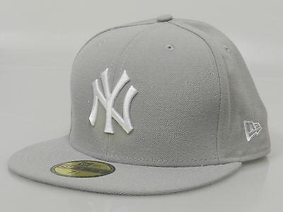 New Era Men's Fitted Hat 59FIFTY MLB New York Yankees Light Gray White