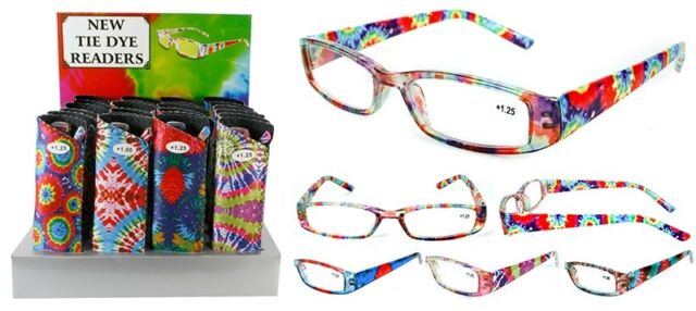 New  Tie Dye Pattern Plastic Fashion Reading Glasses with Pouch + FREE GIFT!