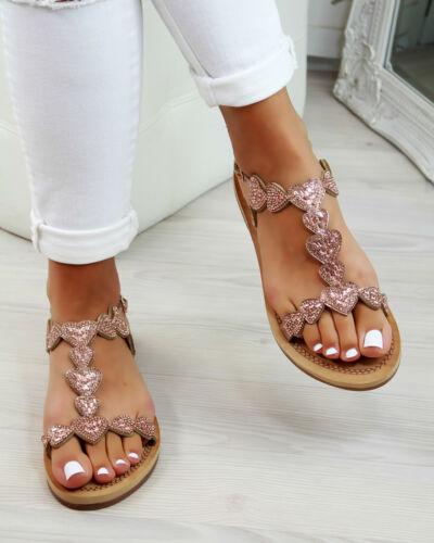 New Womens Flat Sandals T-Bar Embellished Buckle Comfy Holiday Shoes Sizes 3-8