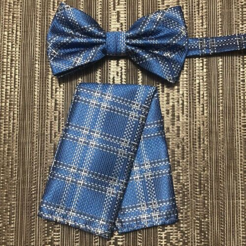 Men/'s Stripes Pattern Butterfly Bow Tie And Pocket Sqaure Hanky Set Wedding Prom