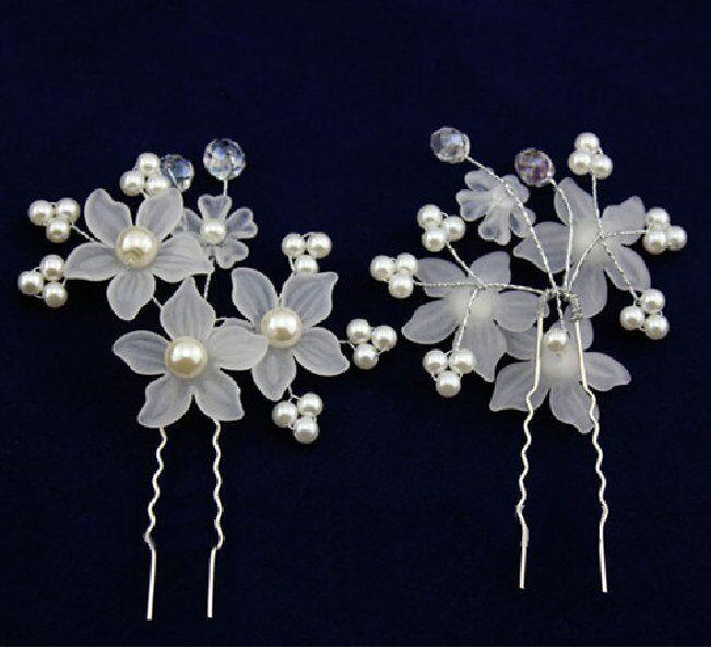 2 pin flowers pearls wedding rhinestone tiara headband bridal hair white