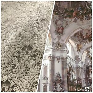 Details about SWATCH 100% Silk Taffeta Interior Design Fabric Damask Brocade Silver Taupe