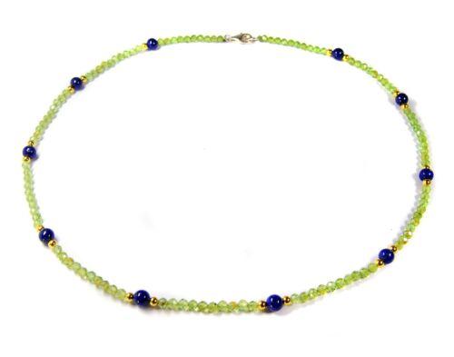Bezaubernde Edelsteinkette aus Peridot  und Zwischenperlen aus Lapislazuli