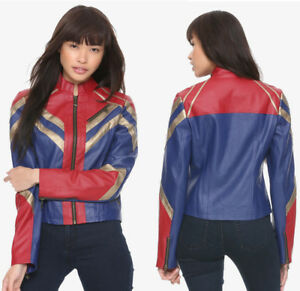 Hot-Topic-CAPTAIN-MARVEL-Faux-Leather-Bomber-Moto-Cosplay-Jacket-Womens-M-L-XL