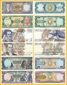 Ecuador-Set-500-1000-5000-10000-20000-50000-Sucres-1988-1999-UNC-Banknotes