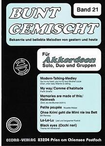 Akkordeon Noten : Bunt gemischt 21 leichte Mittelstufe mittel m St ad lib 2