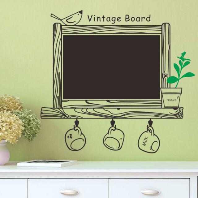 Removable Wall Sticker Kitchen Chalk Board Decal Decor Blackboard Bird Sticker