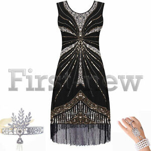 ac8730a3eff 1920s Flapper Dress Great Gatsby Party Sequins Bead Fringe Vintage ...