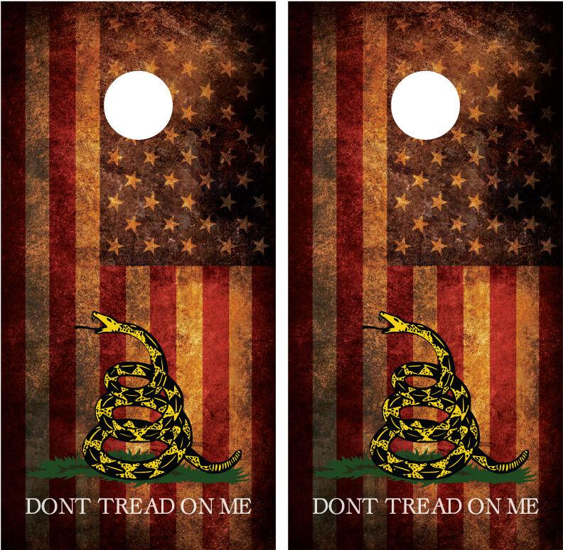 Gadsden American Flag Don't Tread On  Me Distressed Cornhole Decal Wrap Wraps  classic fashion