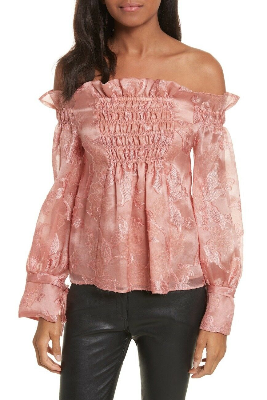NEW Rebecca Taylor Off the Shouler Metallic Floral Organza Blouse - Pink 6  T403