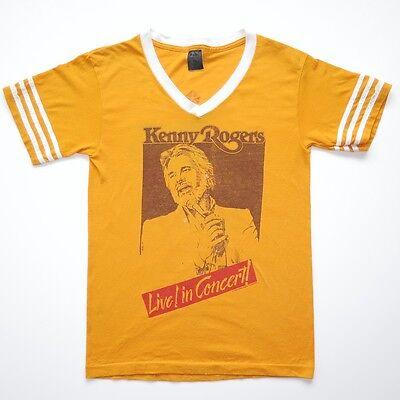 VINTAGE ORIGINAL CONCERT TEE SHIRT VNECK KENNY ROGERS 1984 LIVE IN CONCERT SMALL