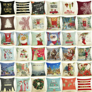 18-034-Feliz-Navidad-Algodon-Lino-Hogar-Decoracion-Sofa-Almohadon-Funda-Funda-de-Cojin-Decoracion