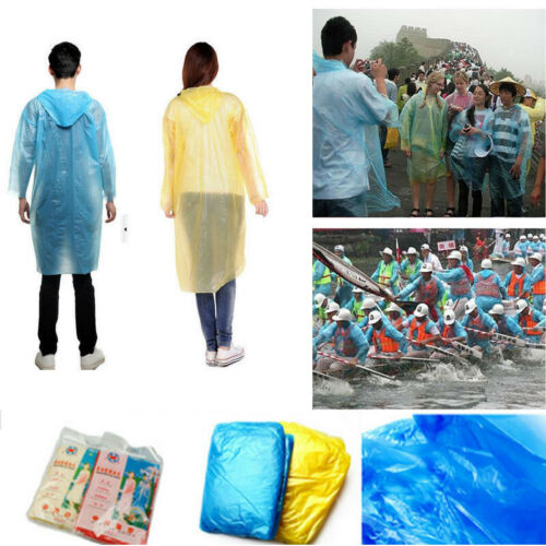 10PCs Disposable Adult Emergency Waterproof Rain Coat Poncho Hiking Camping dfg