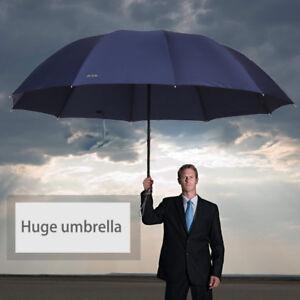Résistant Au Vent Pliage Pluie Grand Coupe-vent Parapluies De Pluie Voyage Noir
