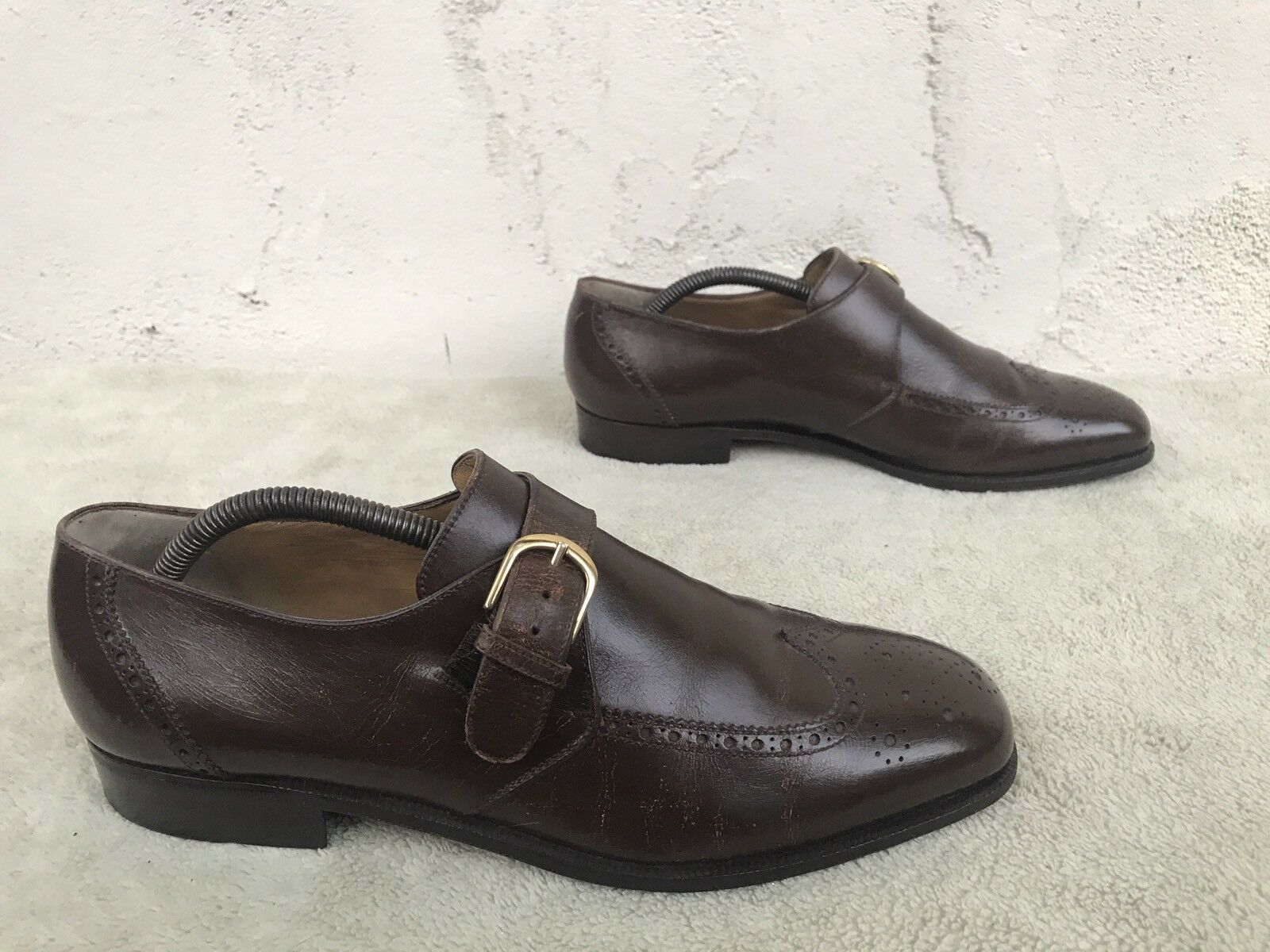RARE EUC Bally Vintage Wingtip Monk Washed Brown Monk Wingtip Strap Pelle Shoes Size   8.5 3d8219