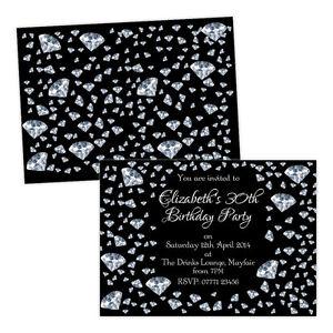 Personalised-birthday-party-invitations-SILVER-BLACK-DIAMONDS-FREE-ENVELOPES-amp-D