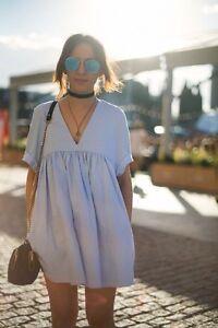 97e11682 Zara Baby Blue Poplin Jumpsuit Playsuit Dress Size S - SMALL - UK 8 ...