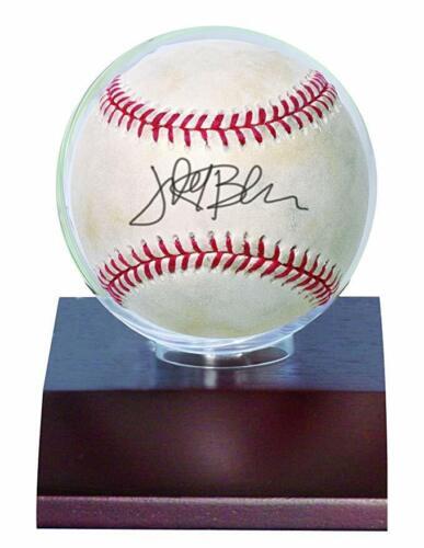 DARK WOOD BASE baseball display case on base//stand ULTRA PRO BASEBALL HOLDER