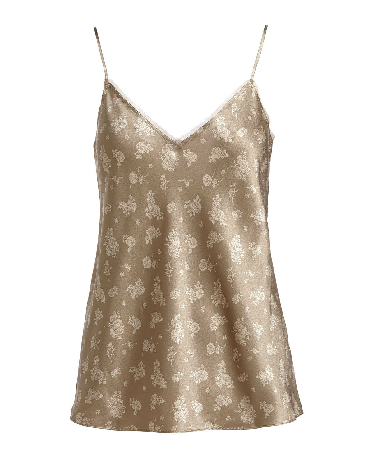VINCE Calico Floral Silk Satin V-Neck Camisole Top, Small