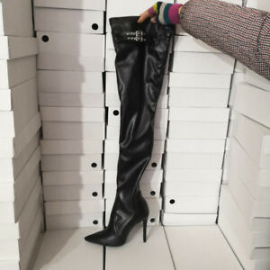 ce00ff4a975 Details about Trendy Women Thigh High Boots Pointy Toe Stiletto Heel Black  Shoes Big Size 4-15