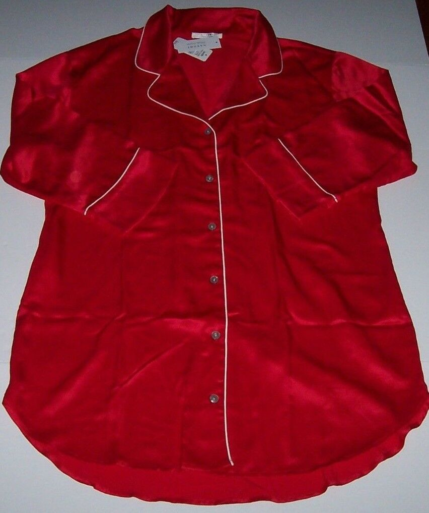 NWT Natori Private Luxuries Solid RED SATIN Sleep Shirt Nightgown S  XMAS
