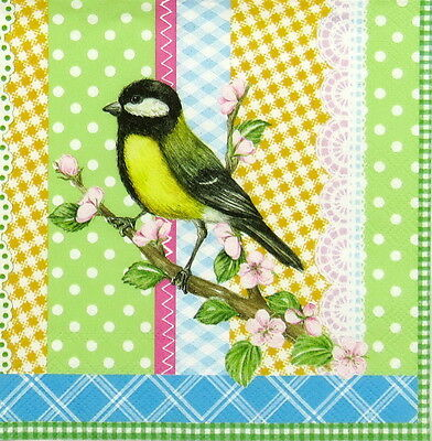 4x Paper Napkins for Decoupage Decopatch Craft Vintage Bird