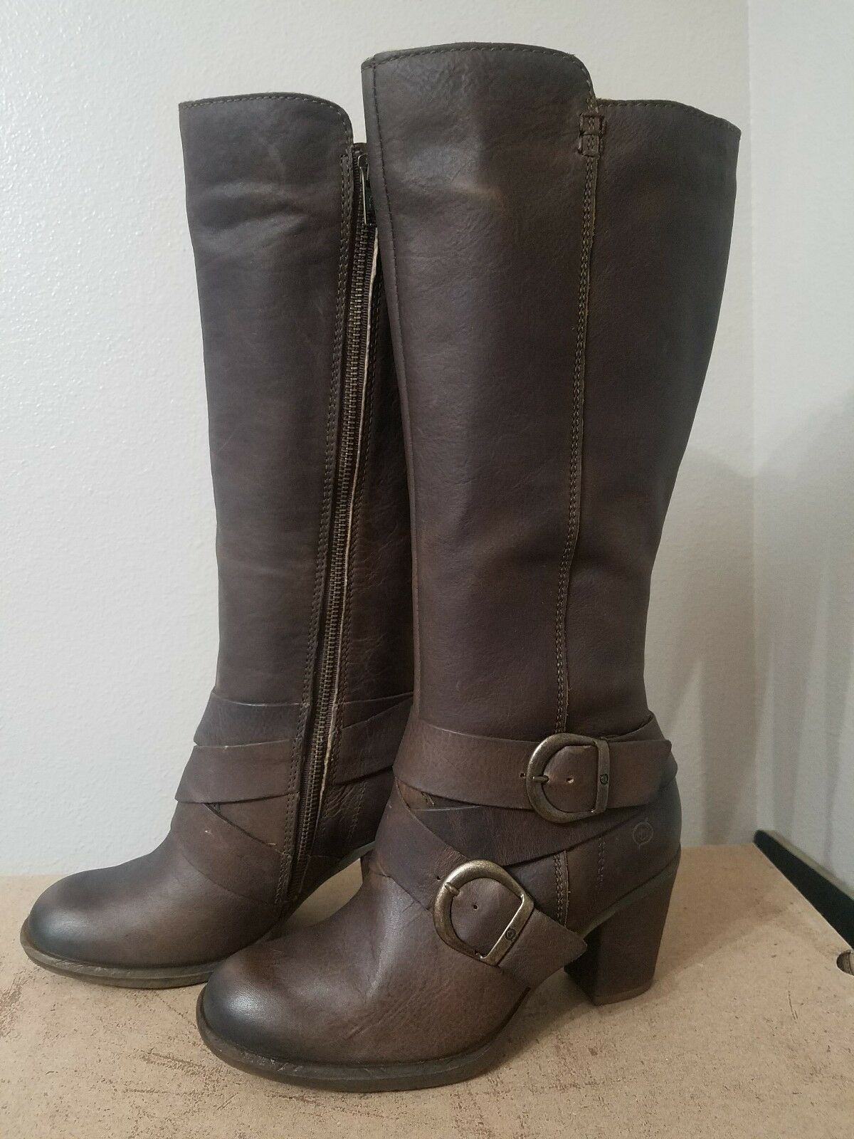 Born F32416 Cresent Knee Tan Braun Knee Cresent High Tall Stiefel Größe 11 9f1fdd