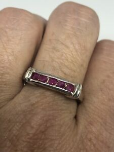 Vintage-Ruby-Ring-925-Sterling-Argent-Taille-9