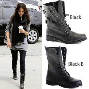 LADIES WOMENS COMBAT ARMY MILITARY BIKER FLAT HEEL LACE BLACK ANKLE BOOTS SIZE