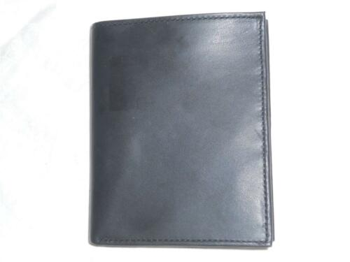 Tall European Folio Genuine Leather Wallet,Black