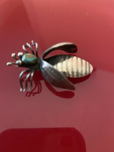 Vintage Southwestern Silver, Turqoise Insect Brooc