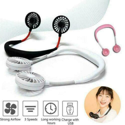 Portable Rechargeable USB Tour de cou paresseux cou suspendus double refroidissement Mini Ventilateur