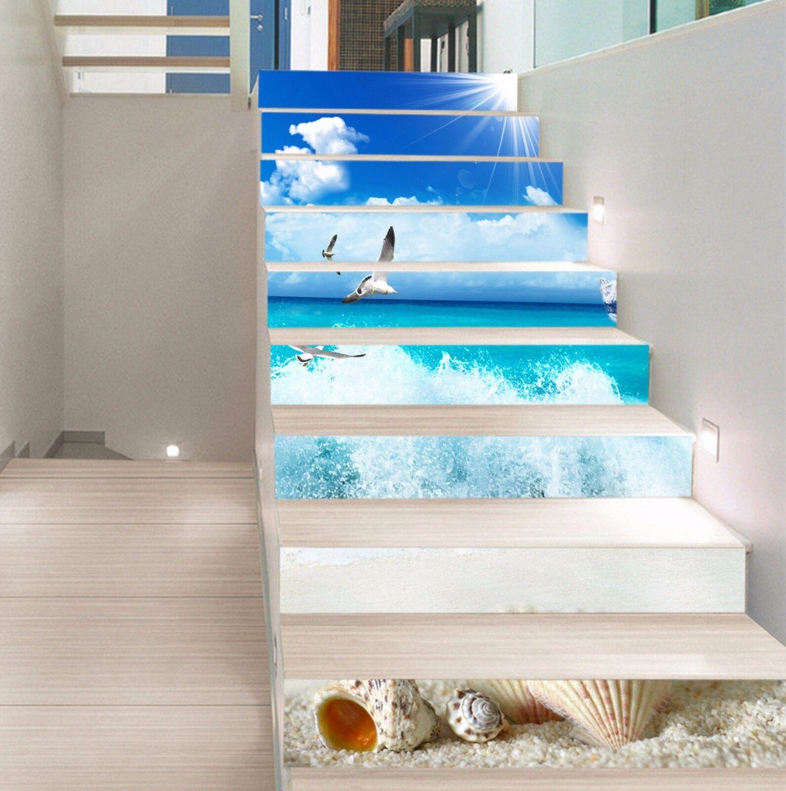 3D Die Wellen 8957 Stair Risers Dekoration Fototapete Vinyl Aufkleber Tapete DE