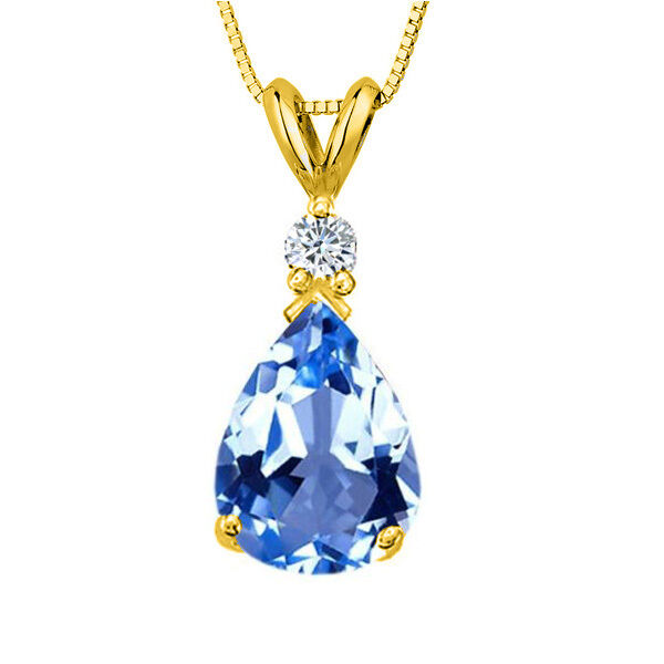 3.05CT 14K Solid Yellow gold Aquamarine Pear Shape Basket Setting Pendant &Chain