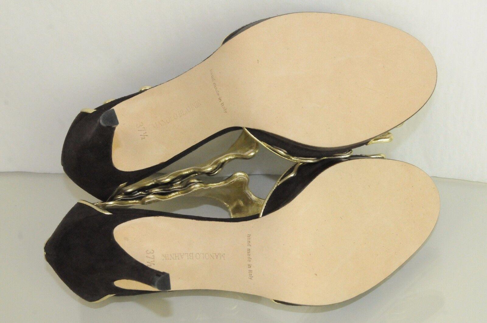 nouvelles sandales manolo talons blahnik cusani talons manolo de chaussures en daim marron or 38 41 55e37c