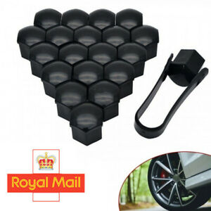 17mm MATTE BLACK ALLOY WHEEL NUT BOLT COVERS CAPS UNIVERSAL SET FOR ANY CAR New