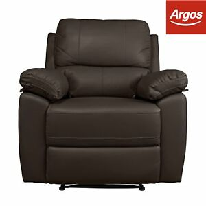 Details About Argos Home Toby Faux Leather Manual Recline Chair Chocolate