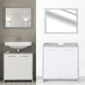 Détails sur Ensemble meuble salle de bain - blanc mat / imitation béton