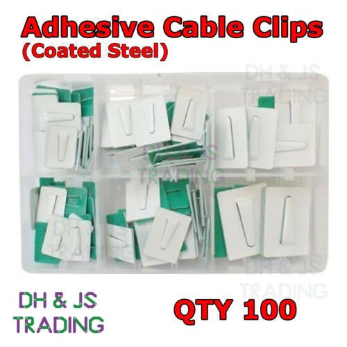Assorted Box of Adhesive Cable Clips Coated Steel Qty 100 Wire Tie Mount Clip
