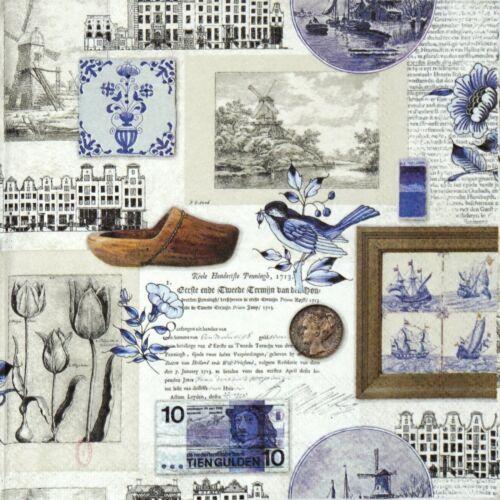 4x Paper Napkins for Decoupage Decopatch Craft Blue Holland